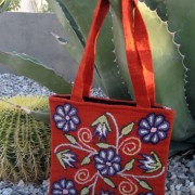Flowered Flat Zip Tote